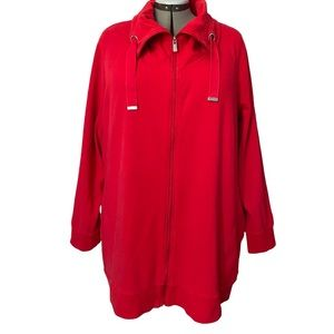 Red zippered cowl neck jacket with pockets 4X